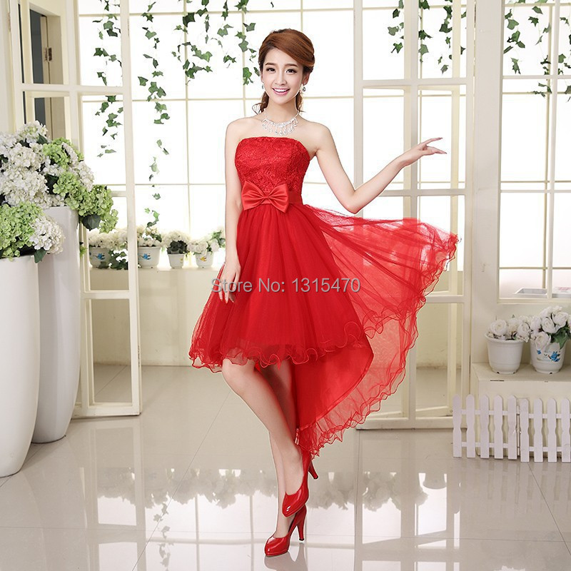 High low red tulle bridesmaid dress with lace bow for High low wedding guest dresses