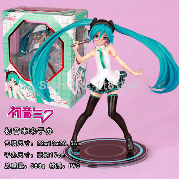 Hatsune Miku 5th generation glasses sexy stockings holding a microphone in hand to do PVC pop Genuine imitate cartoon character(China (Mainland))