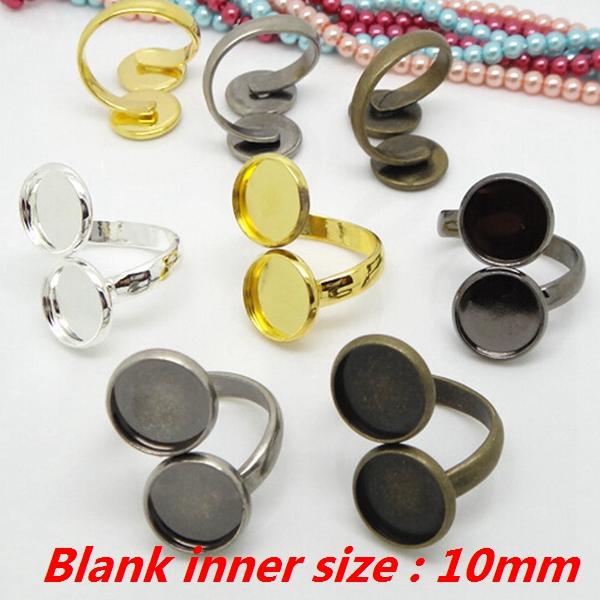 100PCS Ring Blank inner size 10mm double setting Ring Base Tray Bezel Jewelry Findings CFS162<br><br>Aliexpress