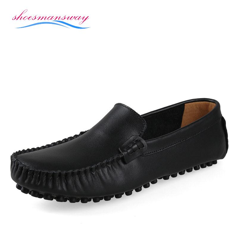 Spring Fashion Mens Loafer Shoes For Driving Menu0026#39;s Black Leather Loafers Online Buy Male Zapatos ...