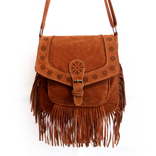 stacy bag new hot popular ethnic style lady small tassel bag girl messenger bag female Faux Suede bag(China (Mainland))