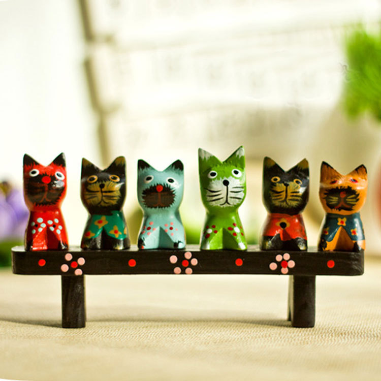 Buy bali wooden cats painting 7pcs set handmade kitten home decor cat wood Home decor survivor 6