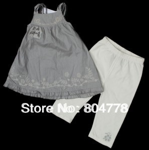 12pcs/lot, baby girls two-pieces  cloth sets C&amp;K suits  with nice embroideries summer sleeveless hanging strip top+pant<br><br>Aliexpress