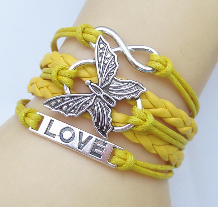 DIY fashion Leather Cute Infinity Charm Bracelet Connected butterfly-shaped love-shaped made 8-shaped - Canny Global Integrity Chain Store store