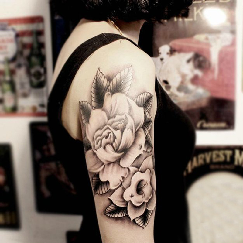 Temporary large arm tattoo stickers black white flower body art makeup high quality health designs for men women unisex(China (Mainland))