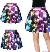 New Women Dancing Skirt Pleated Saia A-line Pettiskirt Nightclubs Tennis Skirts Summer Miniskirt Jellyfish Printed Short Skirts