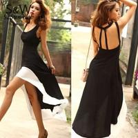 2013 Sexy Women/Lady Deep U Neck Bare Back Backless Dress Hem Tank Swallow Tail Sleeveless Summer Long Dress free shipping 12