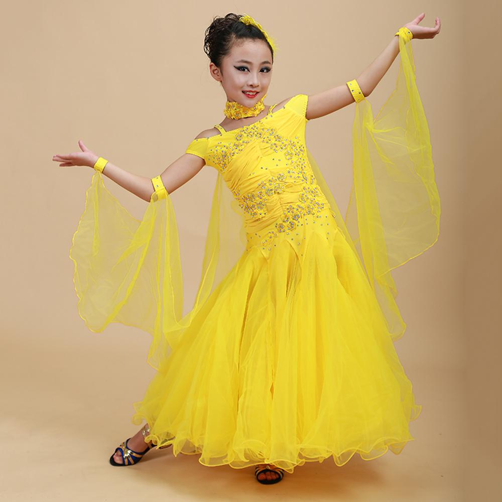 2017 Nueva Muchacha de Los Niños del Salón de Baile Vestido de 1 pieza 6 Colores Swing Hilo y Lentejuelas Estándar de Rendimiento Danza Roupa De Ginástica
