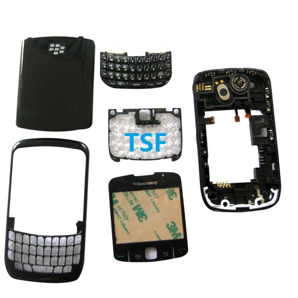 EMS OR DHL free shipping 100pcs/a lot New Replacement for BlackBerry Curve 8520 Black Full Housing Keypad Lens Cover(China (Mainland))