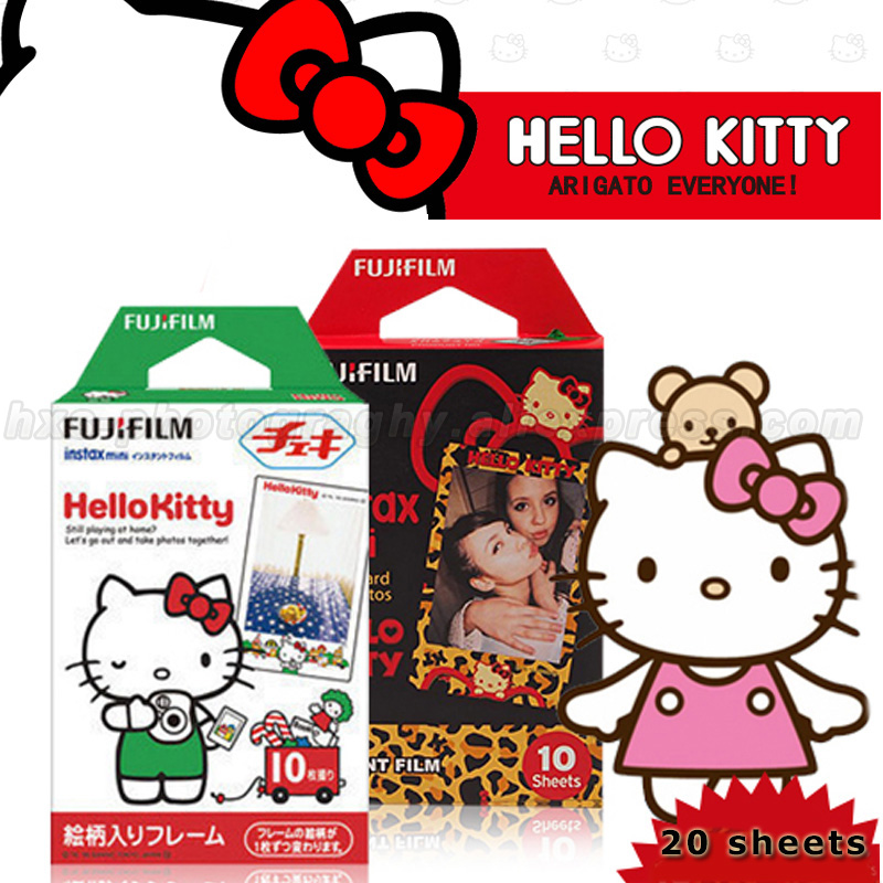 Genuine 20 Sheets Hello Kitty Fuji Instax Film Fujifilm Instax Mini 8 Film For 8 50s 7s 90 25 Share SP-1 SP-2 Instant Cameras(China (Mainland))