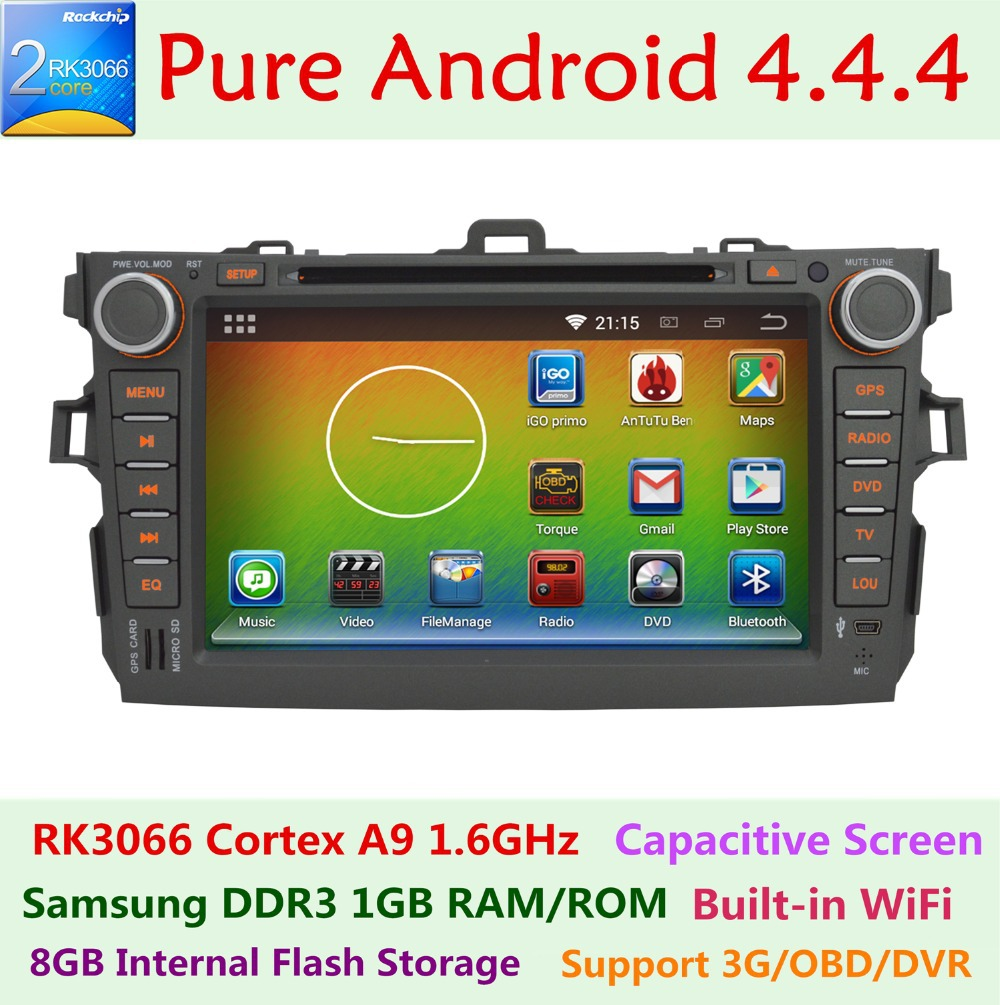 2 Din Pure Android 4.4.4 Car DVD for Toyota Corolla 2007-2011 Capacitive 3G Wifi Dual Core 1.6 GHz 1GB RAM 1G ROM Radio GPS Nav(China (Mainland))