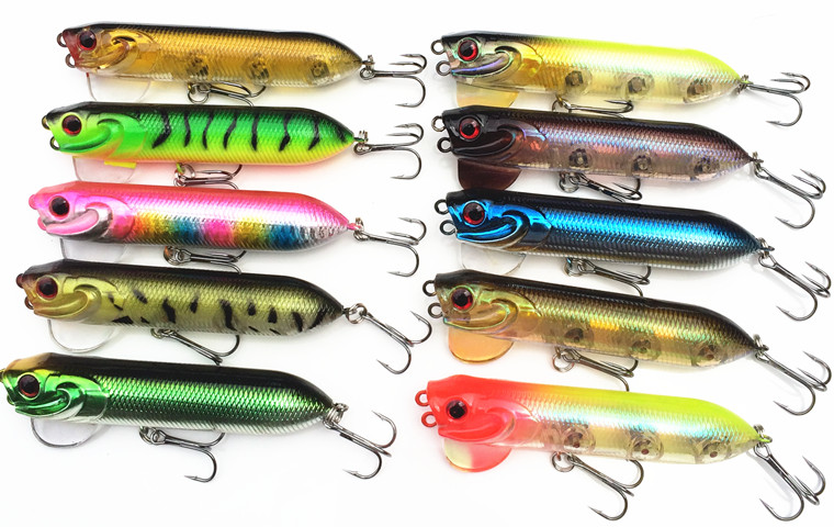 Popper Fishing Lure 9.4cm/18g Popper Minow Pencil Isca Artificial Bait Skitter Wobbler Fishing Hard Bait Fishing Tackle 10 Color(China (Mainland))