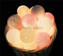 20 Balls/pcs Vintage/sweet  Pastel tone / pure white Cotton Ball String Fairy lights Party home Patio wedding Romantic decor(China (Mainland))