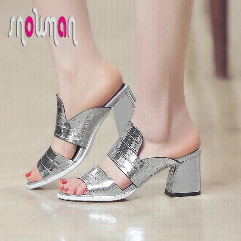 2016 Summer Popular New Genuine Leather Slides Hoof Med Heels Less Platform Sandals Plus Size 34-42 Slingbacks Shoes Woman