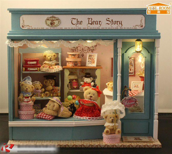 Bear story shop DIY Wood Doll house 3D Miniature Voice-activated Lights+Music box+10 Bear dolls+Furnitures Home&Store decoration(China (Mainland))