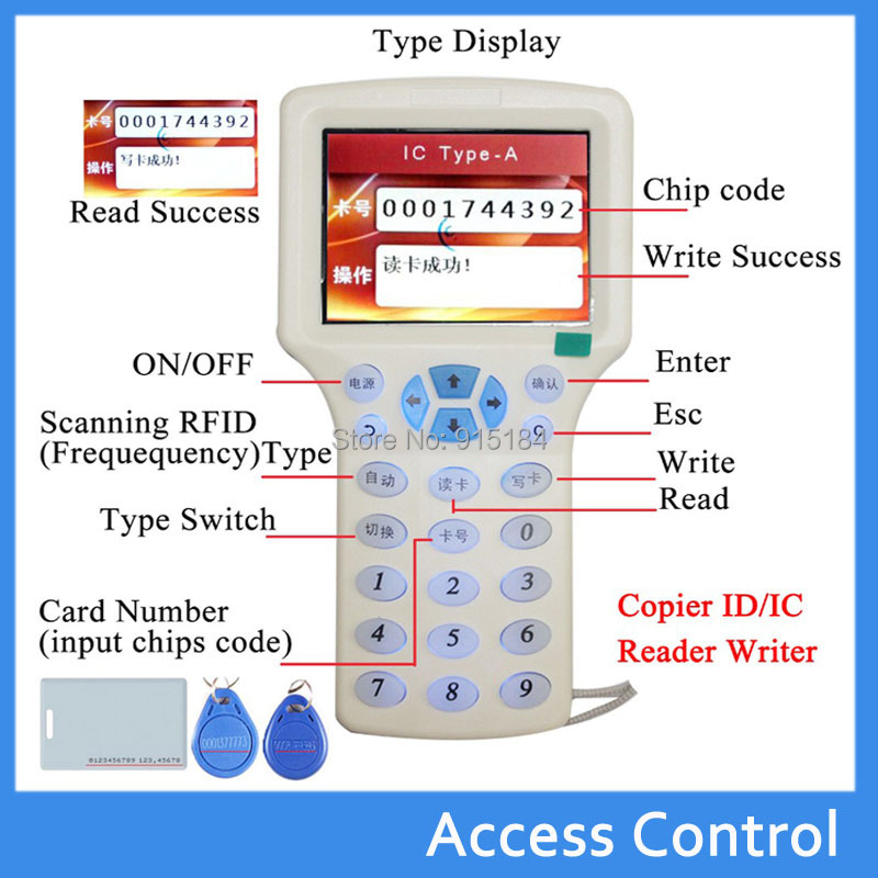 9 frequency copy encrypted NFC Smart Card duplicator RFID Copier/programmer ID/IC Read-Writer+10 125 khz +10 13.56MHZ UID cards(China (Mainland))