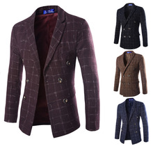 Fashion Men's Suit Coat Autumn Lapel Wool Double-breasted Tartan Suit Brand Clothes Korea Style Jacket Blazer SL