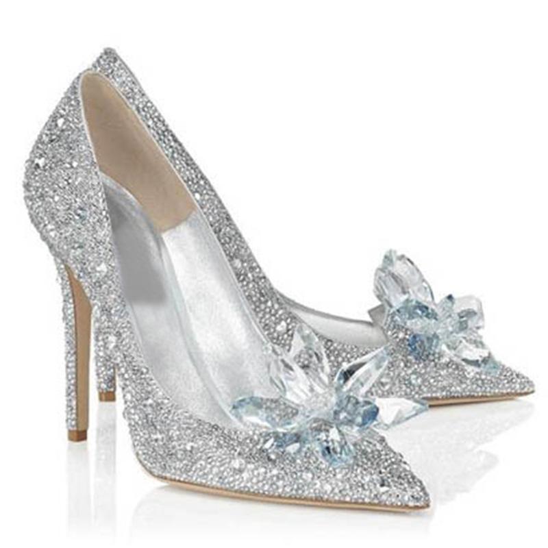 New Fashion Sexy Women Silver Rhinestone Wedding Shoes Platform Pumps Red Bottom High Heels Crystal Shoes(China (Mainland))