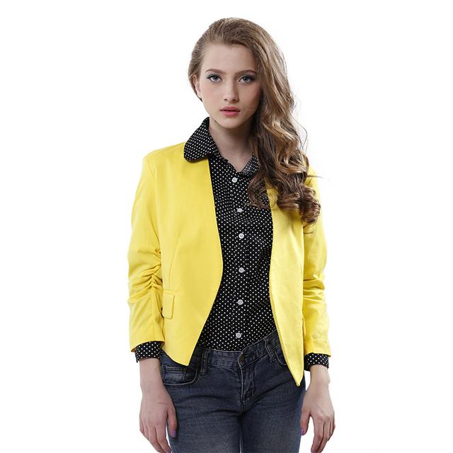 Мода женщин полупальто конфеты цвет свободного покроя куртки три четверти рукава ...