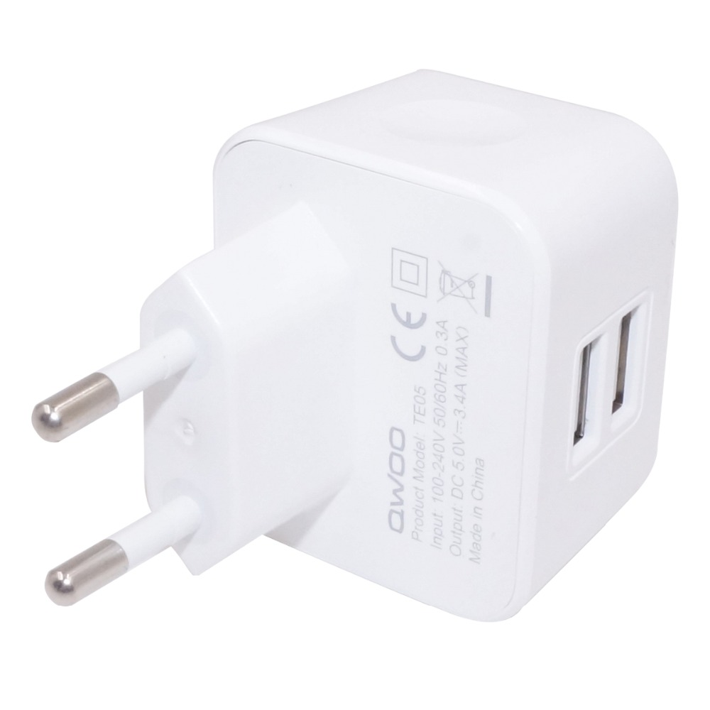Universal EU Plug 2-Port USB 5V 3.4A Power Adapter Wall Charger for Smart Phones