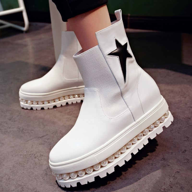 2015 new artficial pearls hot western ankle boots genuine leather fashion shoes women winter boots slip on stars round toe<br><br>Aliexpress
