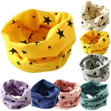 2016 Kids Baby Scarf Candy Colors Stars Leave O-ring Cotton Scarf Neck Warmer Unisex Winter knitting stars Collar Free Shipping
