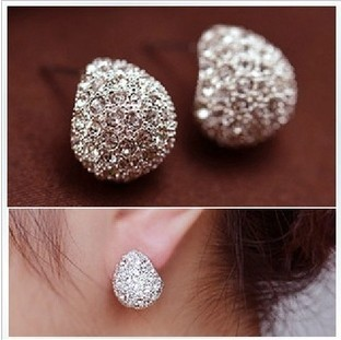 E001 2015 Fashion Jewelry Trendy Style Rhinestone Crystal Silver-plated Stud Earrings Women brincos - MENGJIQIAO -Rose Store store