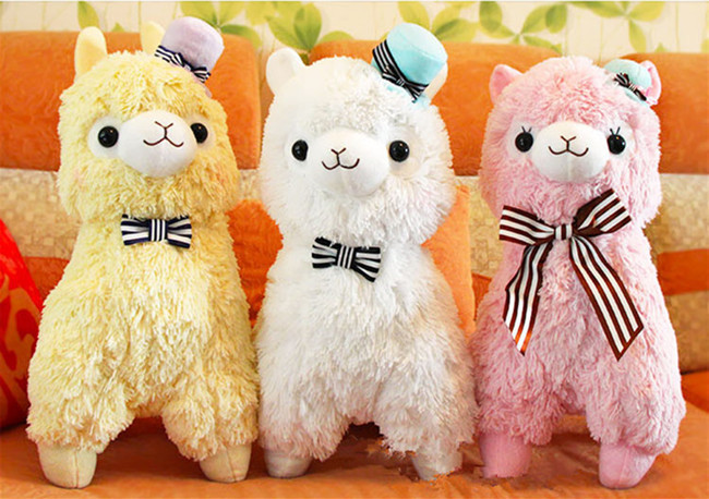 "Free Shipping 14"" Arpakasso Alpacasso Kawaii Alpaca Plush Toys Doll With Hat Soft Sheep Stuffed Toys 4 Colors(China (Mainland))"