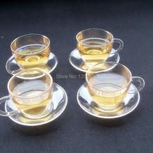 Borosilicate Glass Clear Teapot Tea Set Warmer 4 Mugs 10 Candles
