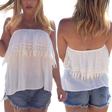 Attractive White color Women Sexy Double Layer Lace Boob Tube Top Chiffon Vest  June 11(China (Mainland))