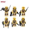 MTELE Brand 6pcs lot Military SWAT Heavy Fire Weapons And Tactics Figure Building Blocks Model Set