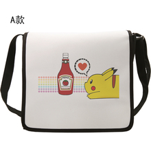 Cute Pokemon Pikachu Shoulder bag cosplay Bag Canvas Cartoon Anime Women Men School Messenger Bags(China (Mainland))