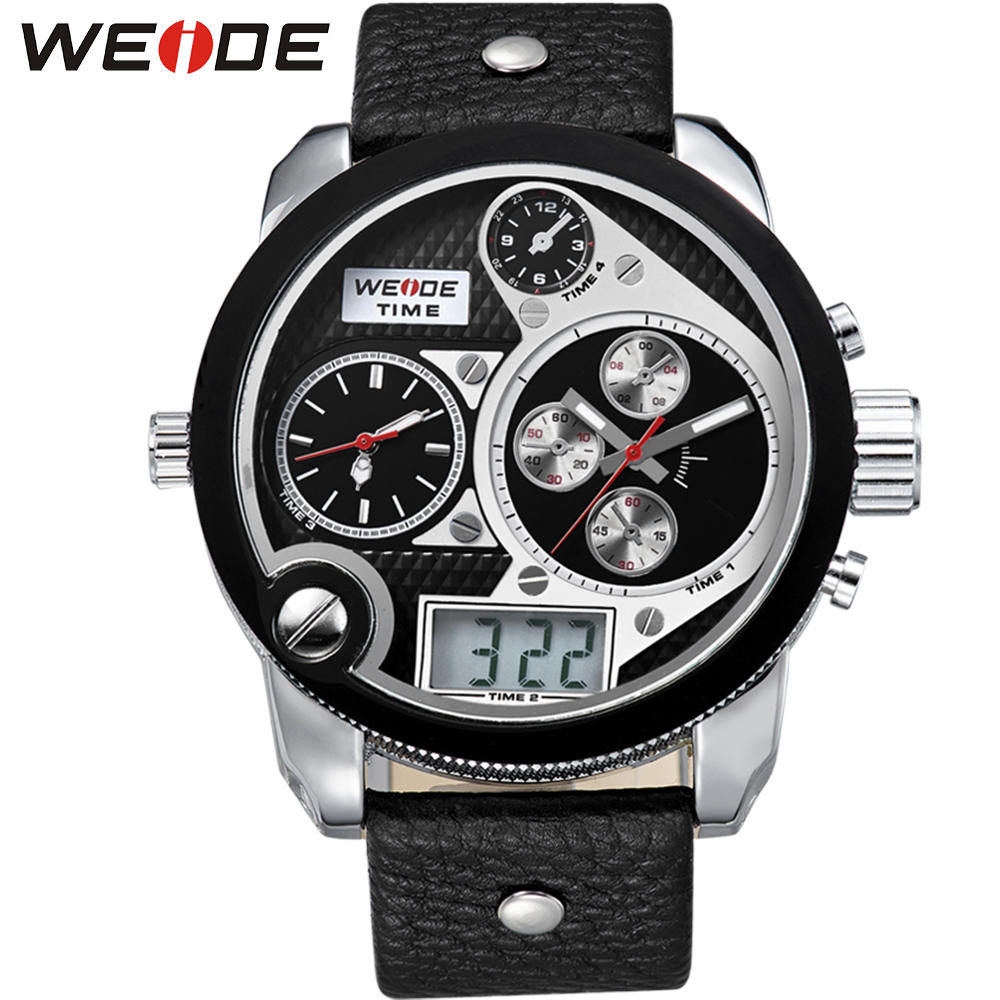 WEIDE Top Brand Mens Digital Dual Time Watch With Real Leather Strap Big Dial 30m Waterproof LCD Watches Original Gifts<br><br>Aliexpress