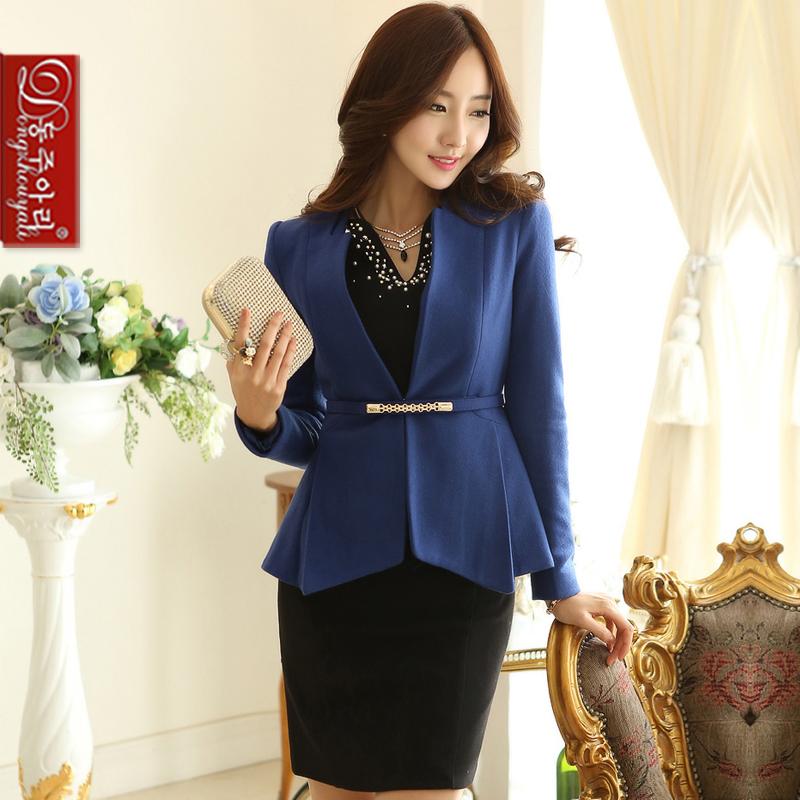 Spring autumn women suits plus size slim fashion female blazer v-neck elegant lady coat waistband - Fashion and Romantic Store store