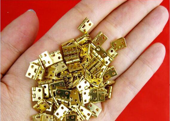 30pcs/lot Mini Cabinet Drawer Butt Hinge copper gold small hinge 4 small hole 8*10 copper hinge With screw(China (Mainland))