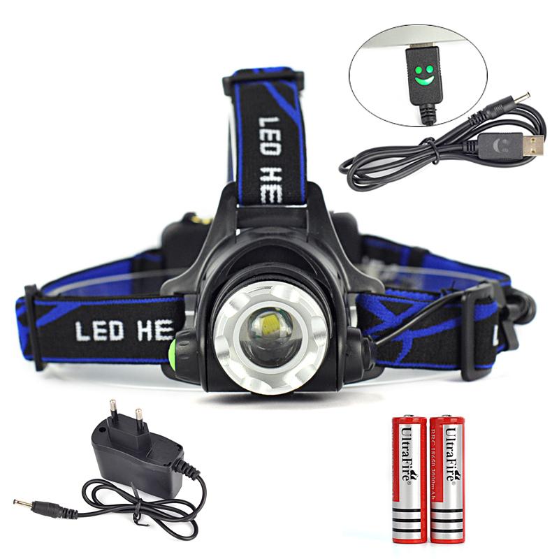 18650 Headlight 2000 Lumens XM-L T6 LED Head Lamp 3 Mode Zoomable Headlamp Head Flashlight Lanterna Hiking Sport+Battery/Charger(China (Mainland))