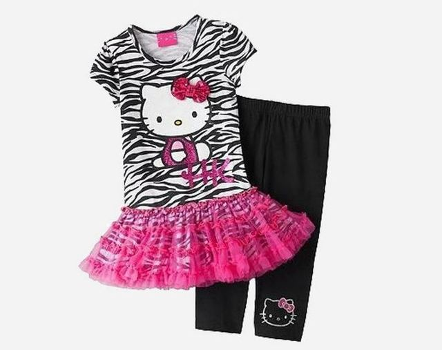 Лето дети в одежда девочки комплект леопардовый милый Hello Kitty хлопок марля платье + леггинсы костюм одежда