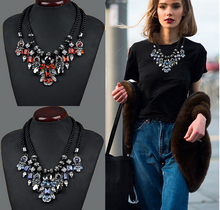 2015 Newest Gorgeous Collares Necklace Brand  Crystal Jewelry Statement Necklace Vintage Choker Necklaces & Pendants For Women(China (Mainland))