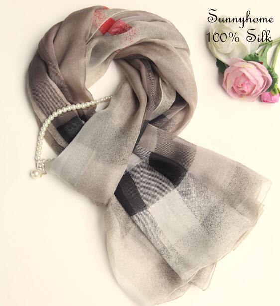 Lot echarpe Oversized plaid scarf 100% pure silk genuine summer beach towel foulard muslim hijab brand name scarfs sale scarves(China (Mainland))