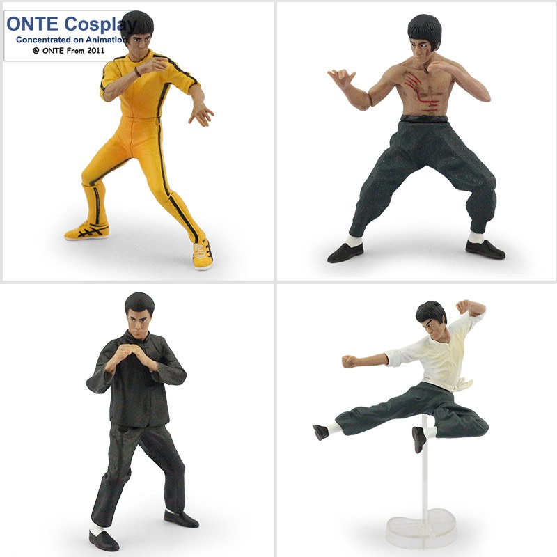 4PCS PVC Action Figure Bandai Bruce Lee Figures Kung Fu Master Legend 9-12.5cm Hero Collection Toys Puppet wholesales(China (Mainland))