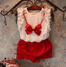 Summer Girls White Bubble Sleeve Red Suit Pants Send Necklace Clothes Kids Baby Girl Set Fashion