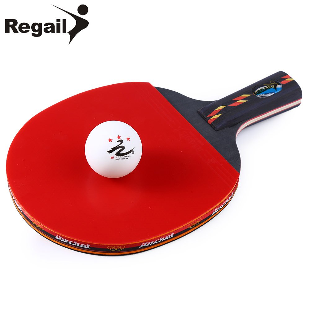 1PC Durable REGAIL Table Tennis Paddle 2-Side Pimples 7 Layers Full Wood+Carbon Fiber Ping Pong Racket+Ball+Pouch Superior Glue(China (Mainland))