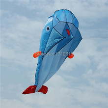 High Quality 3D Huge Soft Parafoil Giant Dolphin Blue Kite Outdoor Sport Easy to Fly Frameless(China (Mainland))