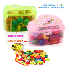 Delivery is free, love boxes, wooden toys, strings of beads toys series, 60 PCS fruit animal beads, children's toys(China (Mainland))