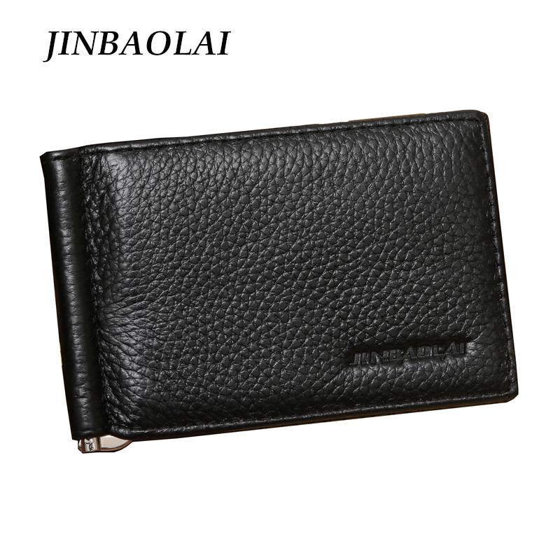 2016 New Arrival Brand JINBAOLAI Men Genuine Leather Money Clip Wallets Fashion Slim Money Clip(China (Mainland))