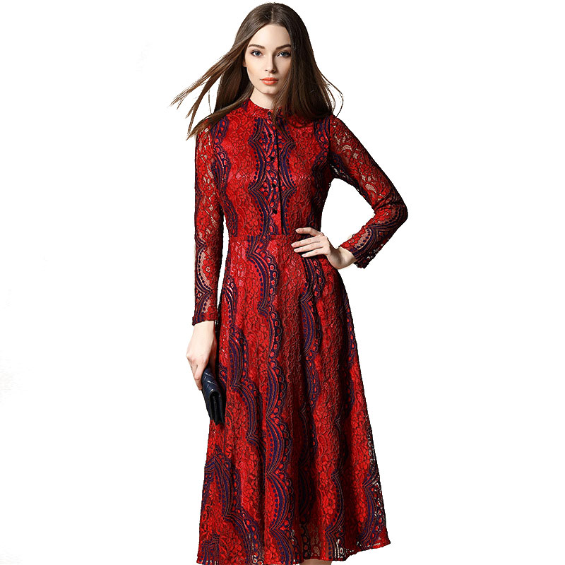 Women Elegant Long Sleeve Maxi Lace Dresses 2016 Spring New Europe Style Stand Collar Slim Long Stripe Dress Vestidos 1782Одежда и ак�е��уары<br><br><br>Aliexpress