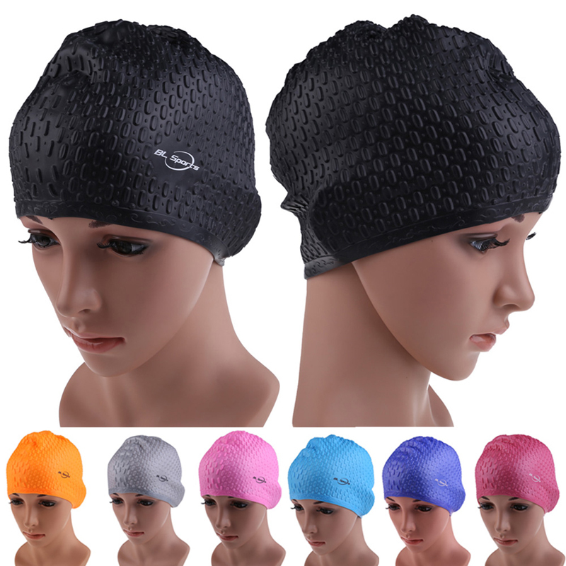Flexible Waterproof Silicon Swimming Cap Unisex Adult Waterdrop Swimming Hat Cover Protect Ear Multicolor Swim Caps BHU2(China (Mainland))