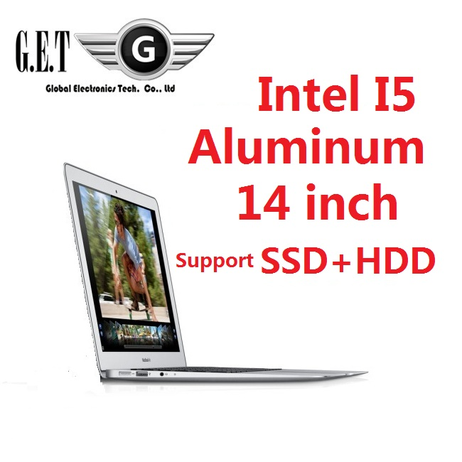 14inch Aluminium ultrabook slim gaming Laptop computer notebook Intel I5 SSD + HDD HDMI LED Webcam(China (Mainland))