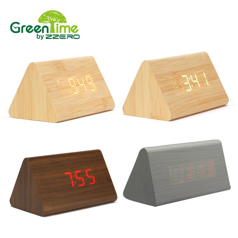 Digital Alarm Clock Modern Time Date Thermometer LED Table Desk Clock Small Dual Voice Quartz Clock Bell wooden alarm clock(China (Mainland))
