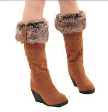 Buy 2016 New Women boots winter heels knee high boots warm cotton padded shoes women high wedges suede leather snow boots ba45 for $28.74 in AliExpress store